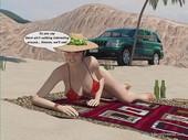 3Dincestvideos - Mother sunbathes on a beach